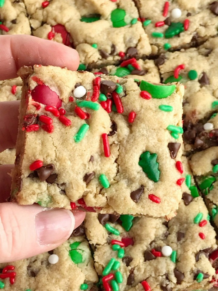 Santa's Cookies | Peanut Butter Oatmeal Cookie Bars | Christmas Recipe | Santa's cookie bars are perfect for Christmas Eve on the cookie plate! A soft, thick, and chewy peanut butter cookie bar loaded with oats, chocolate, peanut butter m&m's, and festive red and green sprinkles. #christmasrecipe #peanutbutterrecipes #dessert #dessertrecipe #recipeoftheday #holidayrecipe