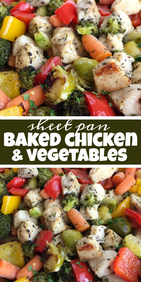 Sheet Pan Baked Chicken and Vegetables   Baked Chicken Recipe   Sheet Pan Recipe   One Pan Recipes   Dinner   Baked chicken and vegetables roast in the oven on one sheet pan! Healthy, full of flavor, and the leftovers are perfect for lunch the next day. Try this healthy dinner recipe that's full of vegetables and boneless, skinless chicken breasts, and it can be easily adapted to what you already have in your kitchen. #chickenrecipe #healthyrecipes #recipeoftheday #glutenfree