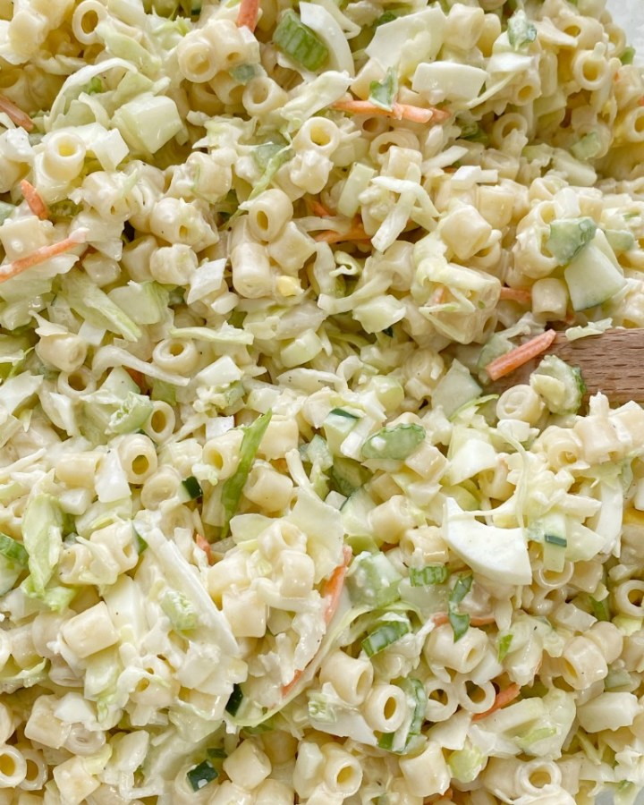 Coleslaw Pasta Salad | Pasta Salad | Side Dish | Coleslaw pasta salad is a fun twist to traditional pasta salad. Loaded with texture, taste, and fabulous crunch. This is the perfect side dish for a summer bbq, picnic, or potluck! It can be made ahead of time too. #pastasalad #sidedish #saladrecipes #bbq #pastasaladrecipes
