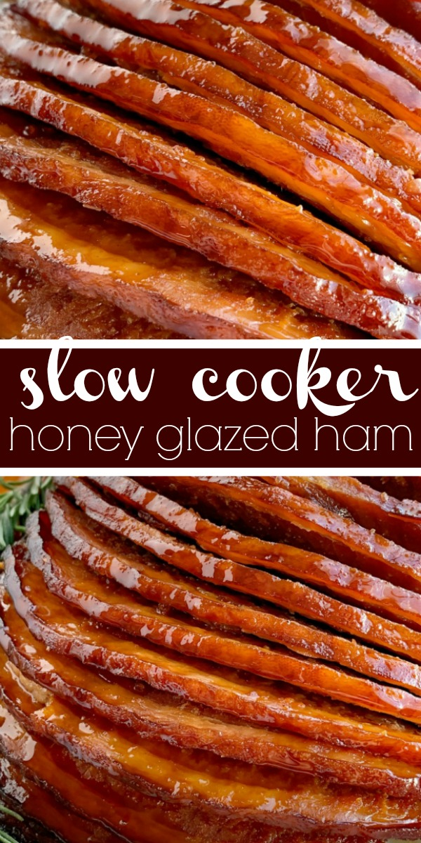 Slow Cooker Honey Glazed Ham | Ham Recipe | Boneless Ham | Crock Pot Ham Recipe | Honey glazed ham made in the slow cooker! Boneless, spiral sliced ham cooks in an easy 4 ingredients honey glaze. So flavorful and even easier to make this ham recipe. #ham #hamrecipe #easterrecipes #slowcooker #crockpotrecipes #honeyham