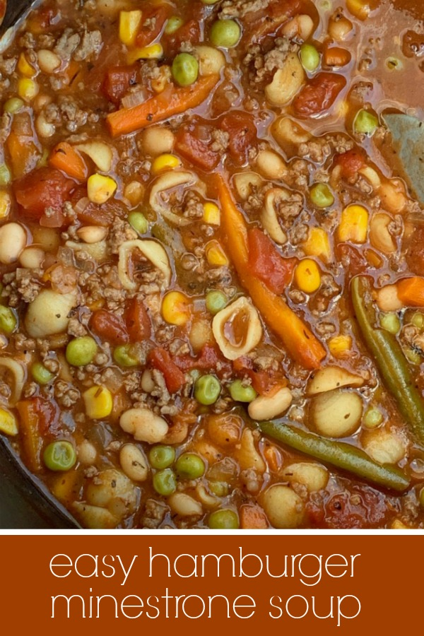 Image for Pinterest of Easy Minestrone Soup