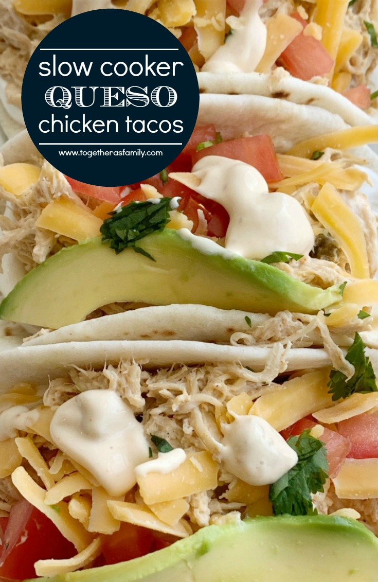 Slow Cooker Chicken Queso Tacos   Tacos   Chicken Tacos   Chicken Tacos made in the slow cooker with only 4 ingredients! Shredded chicken with queso, inside a flour tortillas with all the toppings you love. These queso chicken tacos are so easy and full of creamy queso flavor. #tacorecipes #tacos #dinner #dinnerrecipes #chicken #chickenrecipes #recipeoftheday