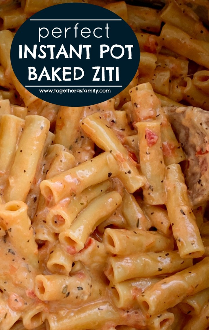 "Perfect Instant Pot Baked Ziti | Instant Pot Recipe | Pressure Cooker | Baked Ziti | Baked Ziti is a family favorite dinner that's made even easier when you ""bake"" it in an Instant Pot! 15 minutes start to finish and only a few simple ingredients. Your family will love this perfect cheesy baked ziti recipe. #instantpotrecipes #pressurecooker #easyrecipe #dinnerideas #pasta #dinner"