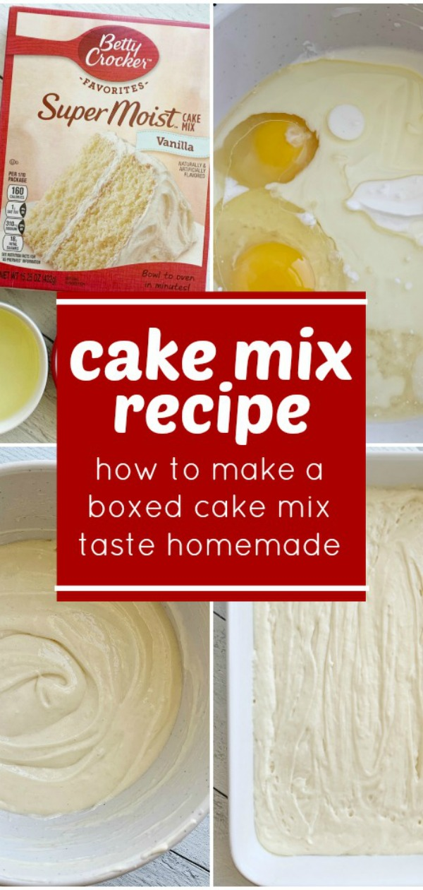 Cake Mix Recipe | Doctored Up Boxed Cake Mix | Cake Recipe | Boxed Cake Mix Hack | Love the convenience of a boxed cake mix but want it to taste richer and homemade? Then you will love this Cake Mix Recipe which will turn any boxed cake mix into a deliciously moist and rich cake that tastes like it came from an expensive bakery. #cake #easyrecipe #cakerecipes #boxedcakemixrecipes #cakemix #recipeoftheday