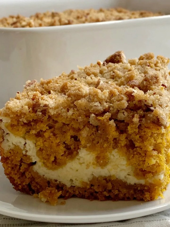 Cream Cheese Pumpkin Coffee Cake | Pumpkin Recipe | Coffee Cake | Pumpkin Coffee Cake with a sweet cream cheese filling and a brown sugar pecan streusel topping. Pumpkin Coffee Cake is so moist, delicious, and the perfect pumpkin recipe. #pumpkinrecipes #coffeecake #dessertrecipes #recipeoftheday #pumpkincake