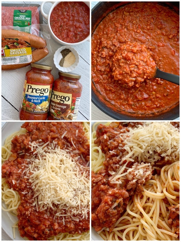 Easy Weeknight Spaghetti Sauce | Easy Spaghetti Sauce | Easy Dinner Recipe | Easy Spaghetti Sauce is semi-homemade and perfect for those busy weeknight dinners. Ground beef and smoked sausage give so much flavor to this spaghetti sauce, jars of marinara, salsa, and some spices give maximum flavor with very little effort in this easy dinner recipe. #dinner #dinnerrecipes #recipeoftheday #spaghetti #pasta