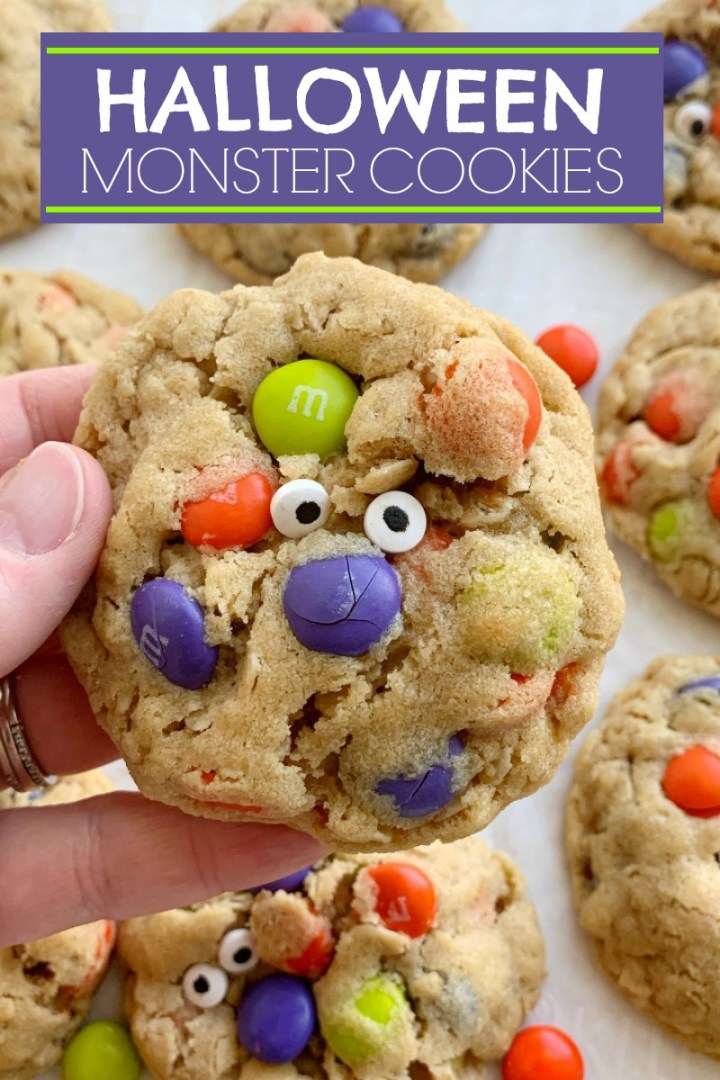 Halloween Monster Cookies | Halloween Recipe | Halloween Recipe | Monster Cookies | Halloween Monster Cookies are chewy, soft-baked, and loaded with peanut butter, oats, Halloween m&m candies, and spooky candy eyeballs. These Halloween cookies are a fun and delicious way to celebrate Halloween! #halloweenrecipes #cookies #monstercookies