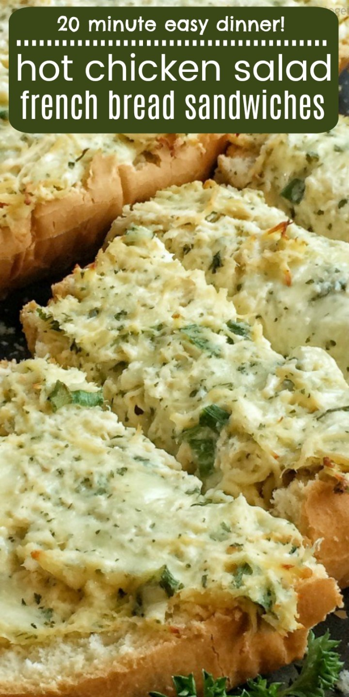 Hot Chicken Salad French Bread Sandwiches   Hot Chicken Salad Recipe   Hot Chicken Salad is so creamy, cheesy and baked in the oven on French bread for a delicious and easy to make open faced sandwich. This easy dinner recipe is ready to eat in less than 30 minutes. #hotchickensalad #chickensaladrecipe #easydinnerrecipe #recipeoftheday