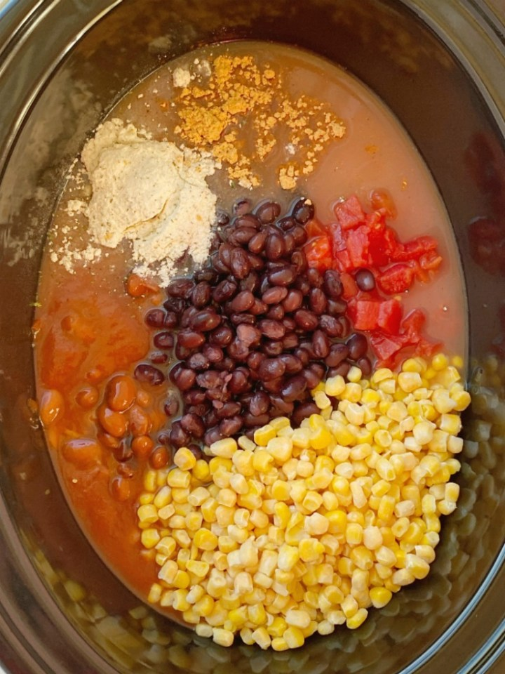 Ingredients shown in the slow cooker for what you need to make chicken chili recipe.