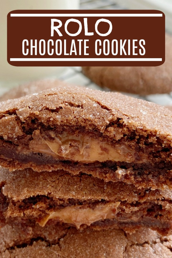 Chocolate Cookies | Stuffed Cookie Recipes | Rolo Cookies will cure any chocolate craving! Soft-baked, thick & chewy chocolate cookie stuffed with a caramel chocolate Rolo candy. #stuffedcookies #cookies #cookierecipes #chocolate #dessertrecipes