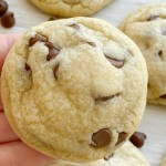 The best Chocolate Chip Cookie Recipe! No chilling required and only one bowl. Ultra thick and super soft recipe for a classic chocolate chip cookie.