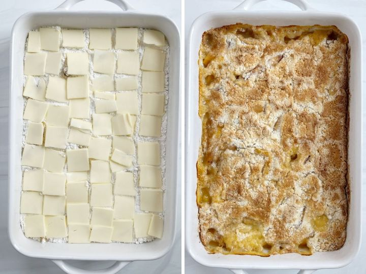 How to make peach dump cake with step by step picture collage.