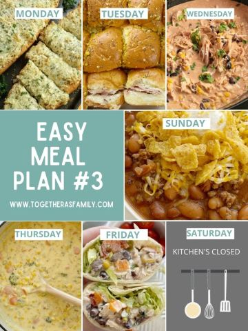 Weekly menu plans that are family friendly!