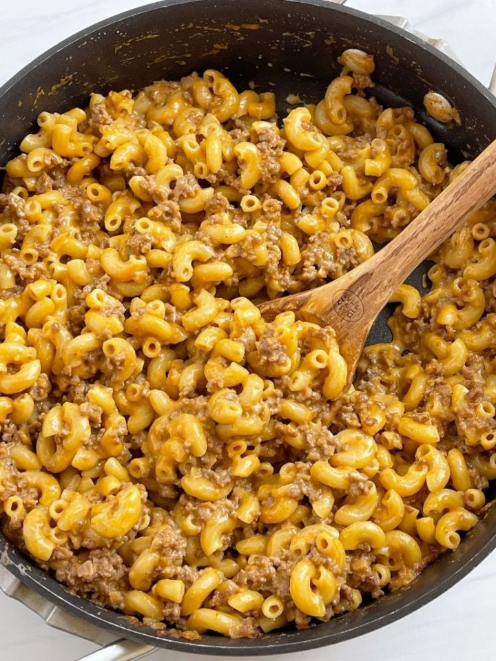 Recipe for homemade hamburger helper that is shown inside a skillet pan.