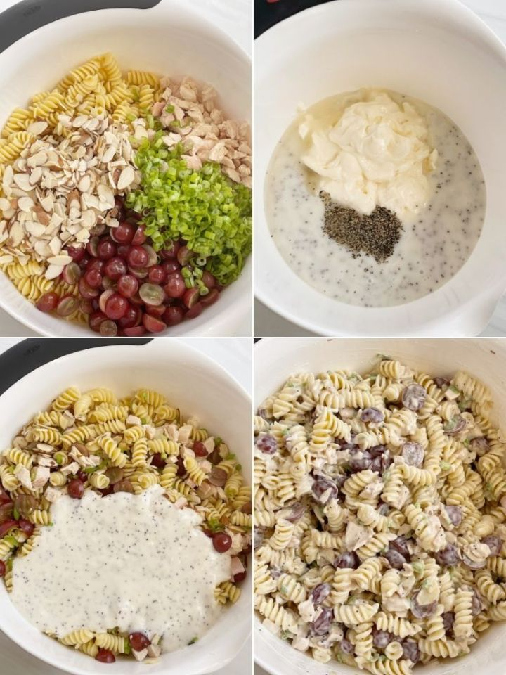 Collage photo with step by step pictures of how to make poppy seed pasta salad.