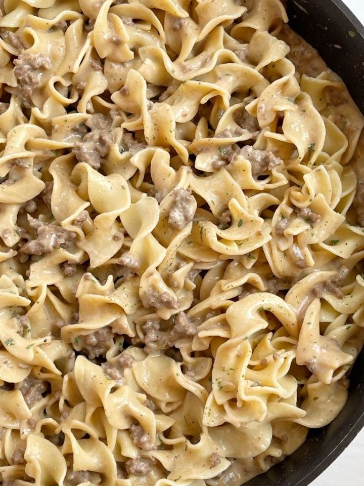 Close up picture of beef stroganoff