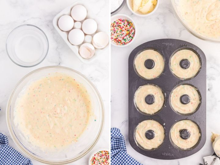 Step by step photo collage on how to make donuts with sprinkles.