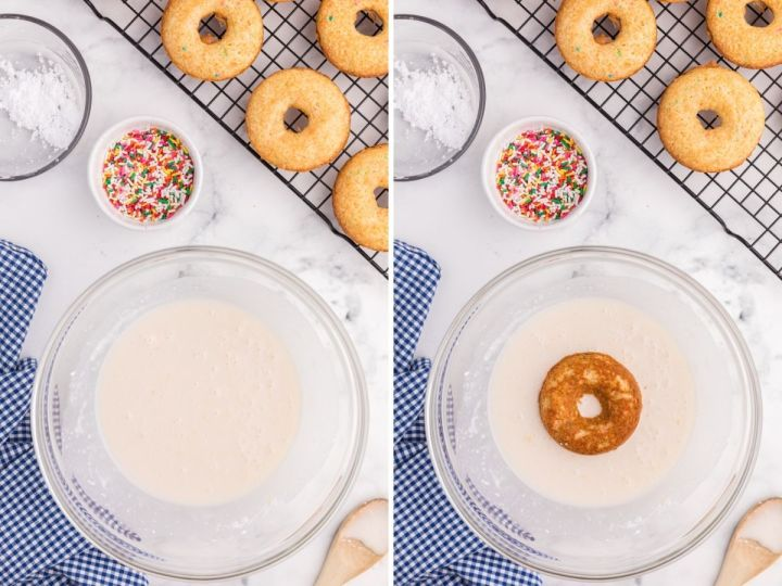 Glaze or donuts inside a bowl showing a donut being dipped into it.