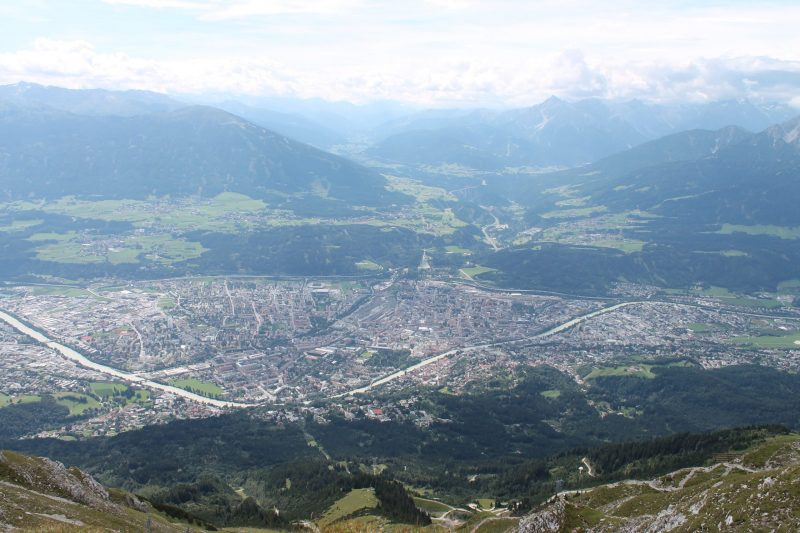 View of innsbruck from the top of the mountain