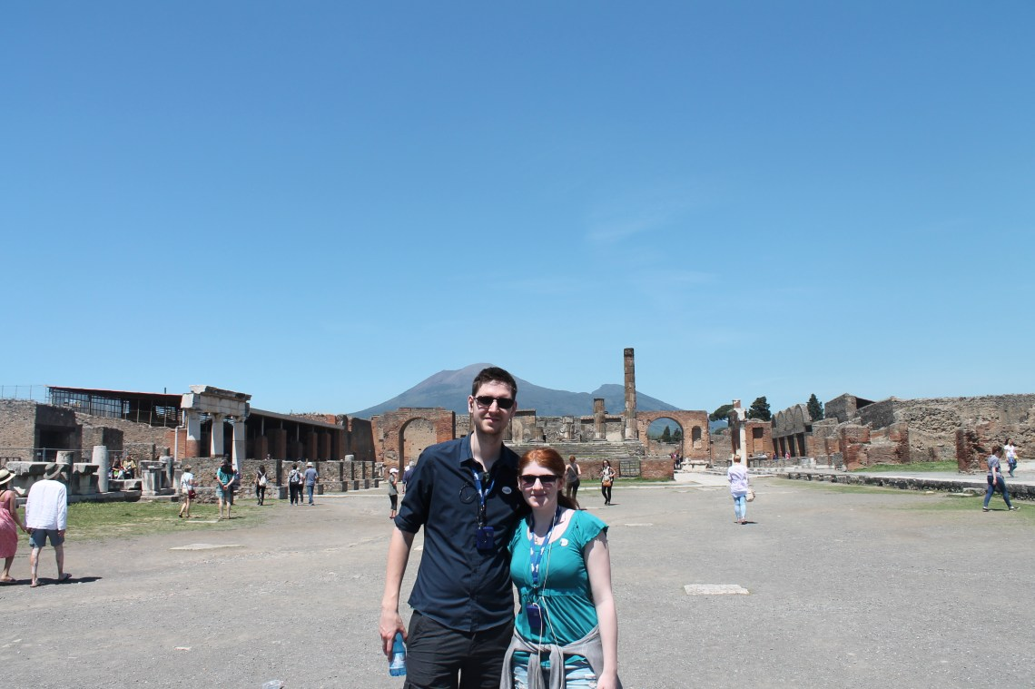 Us in Pompeii with Mount Vesuvius in background
