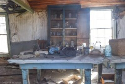 Inside someones house kitchen storage at Bodie State Park, California