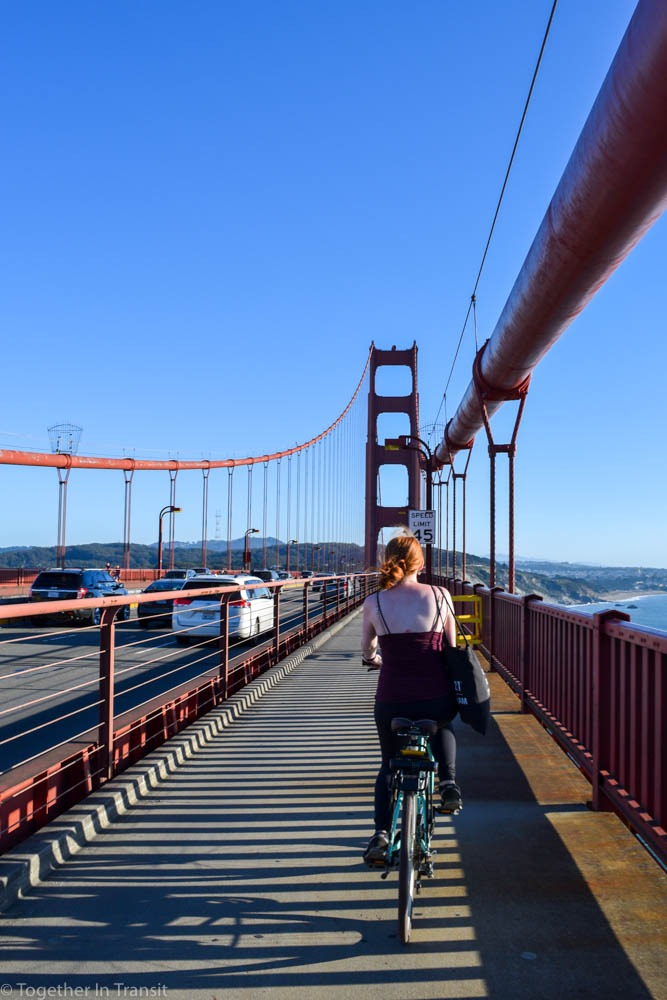 Cycling over the Golden Gate Bridge in San Francisco