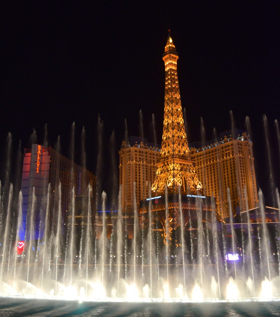 The Paris hotel with the waterfalls at Las Vegas