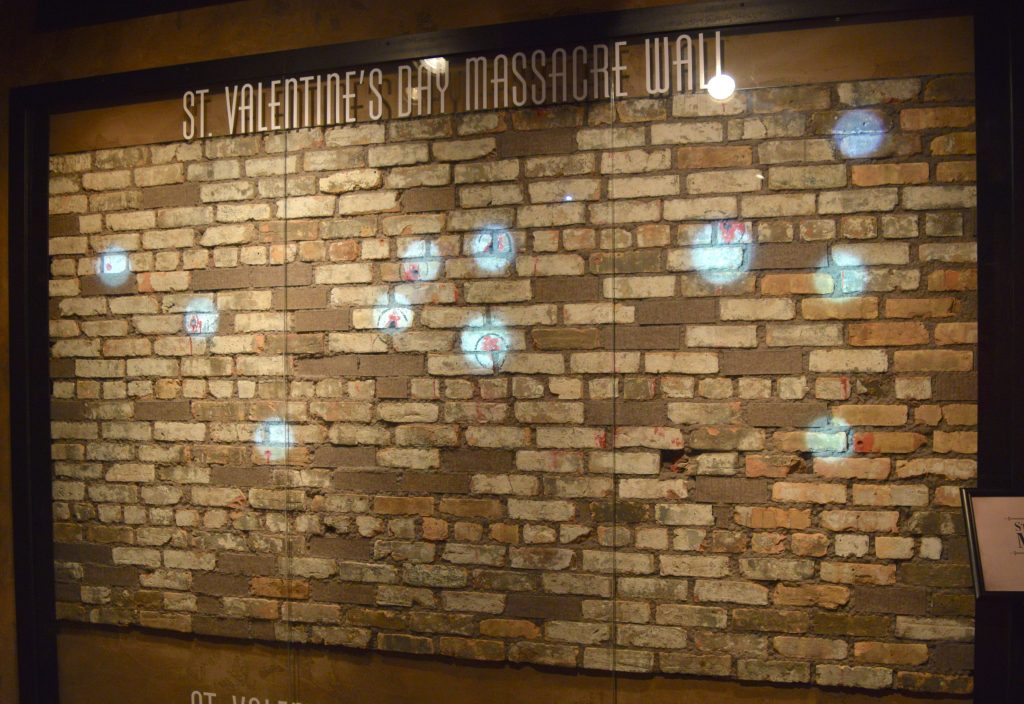 A photo of a wall with bullet holes in Las Vegas Mob Musuem