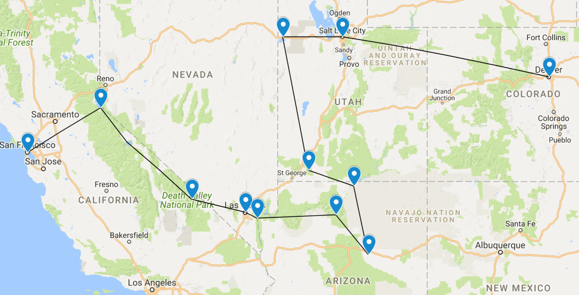 US Road Trip Itinerary 2 weeks - togetherintransit.nl