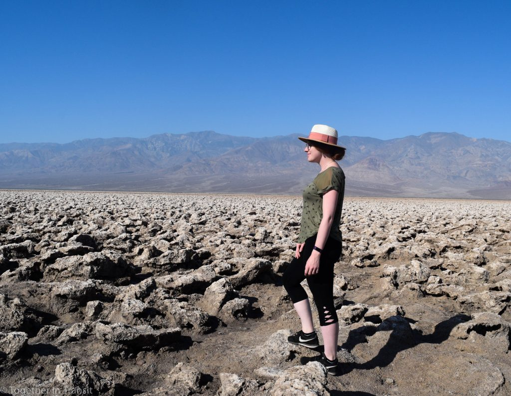 Standing at the base of Devils Golf Course in Death Valley