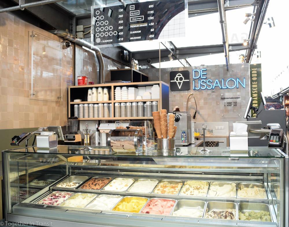 Delicious Ice cream stall De Ijssalon at the Markthal Rotterdam