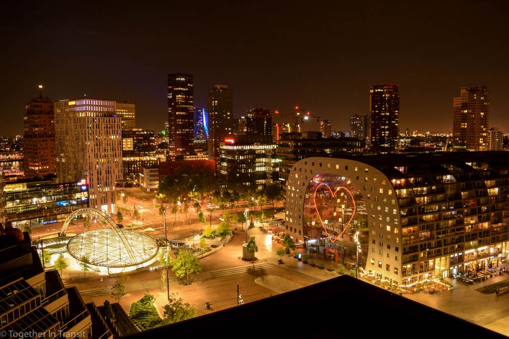 Rotterdam view of Markthal, Rotterdam Library, Blaak and Erasmusbrug at night