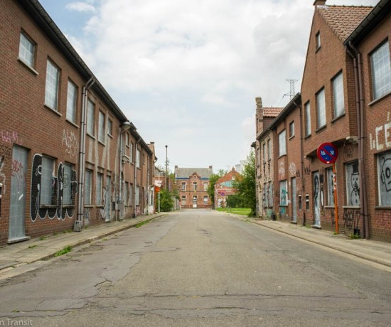 One of the streets at the Abandoned Ghost Town Doel in Belgium.
