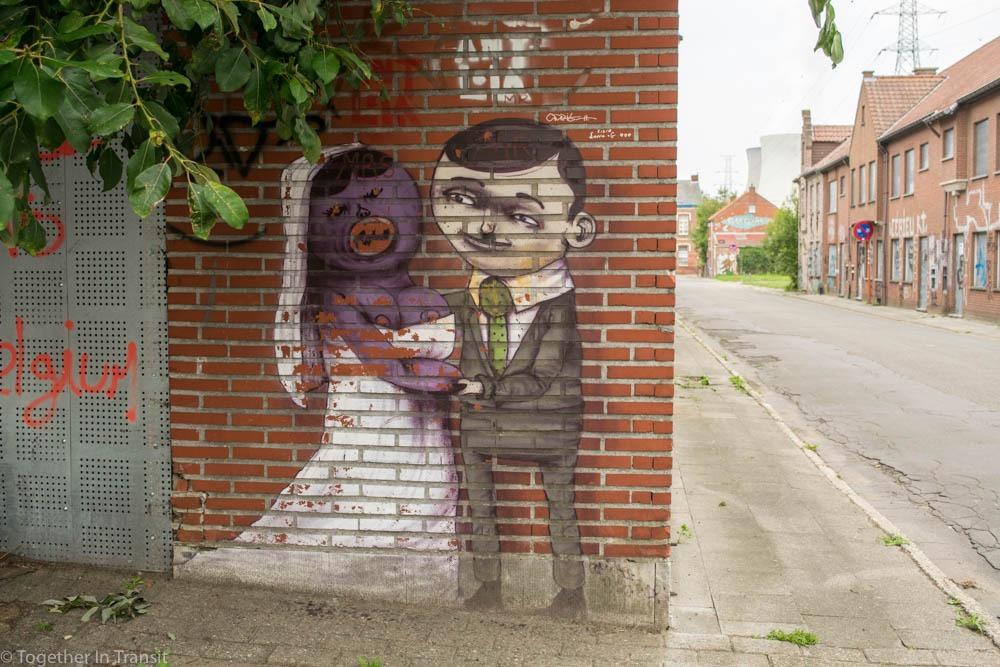 Street art wedding couple in Abandoned Ghost Town Doel in Belgium