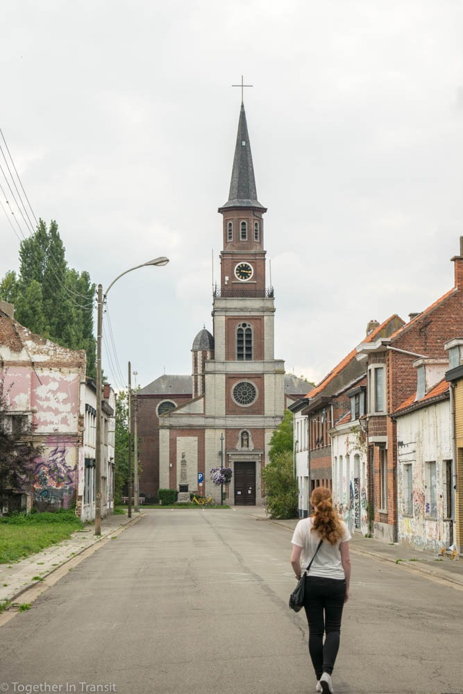 The church at the end of the abandoned street in Doel