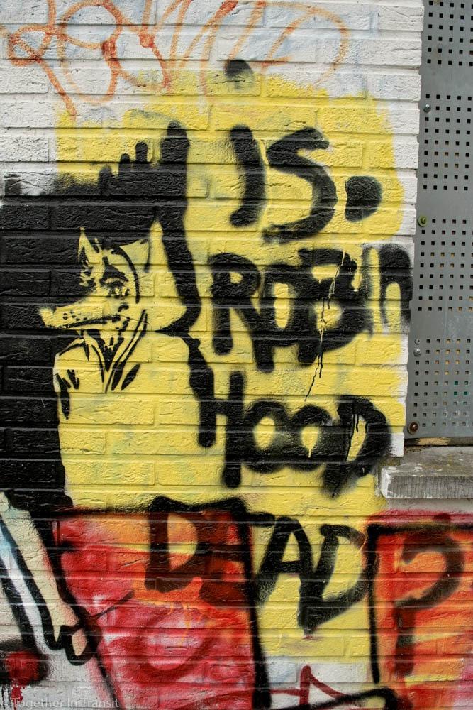 Street art robin hood in Abandoned Ghost Town Doel in Belgium
