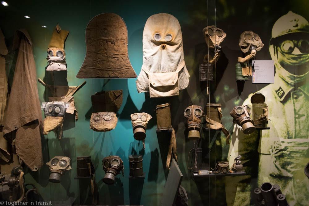Gas masks at the Memorial Museum Passchendaele 1917