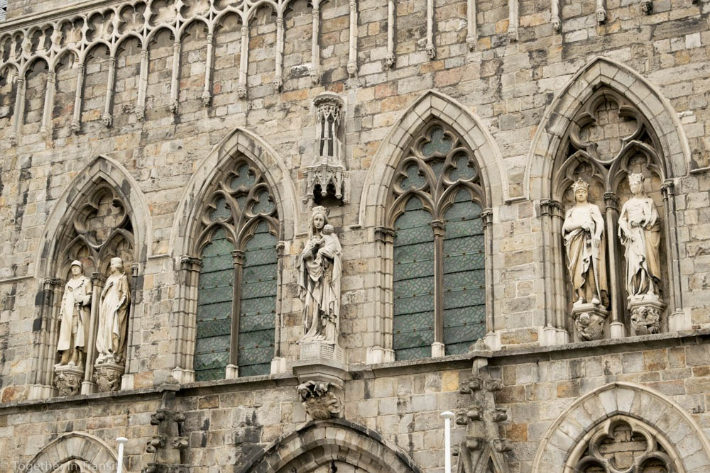 Gothic details on the Cloth Hall in Ypres