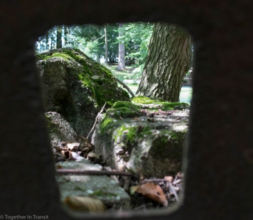 Looking through a metal sniper protector at the Hooge Crater front line, close to the city of Ypres.
