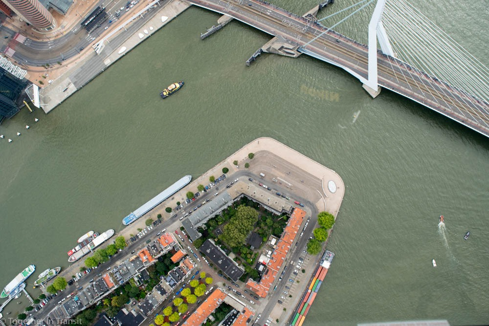 Noordereiland from above in the helicopter