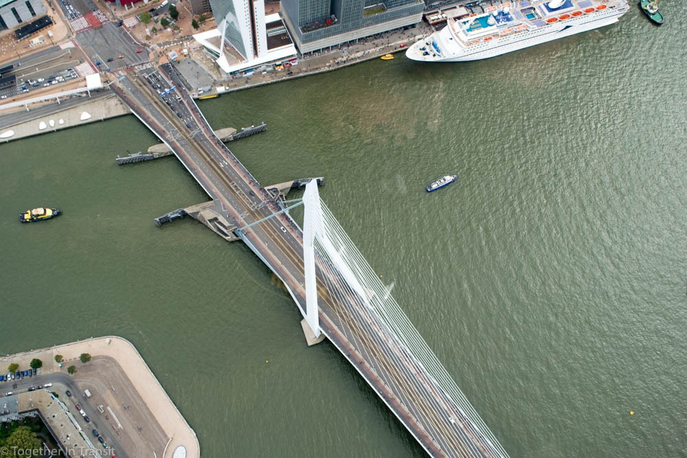 Erasmusbrug from above in the Helicopter