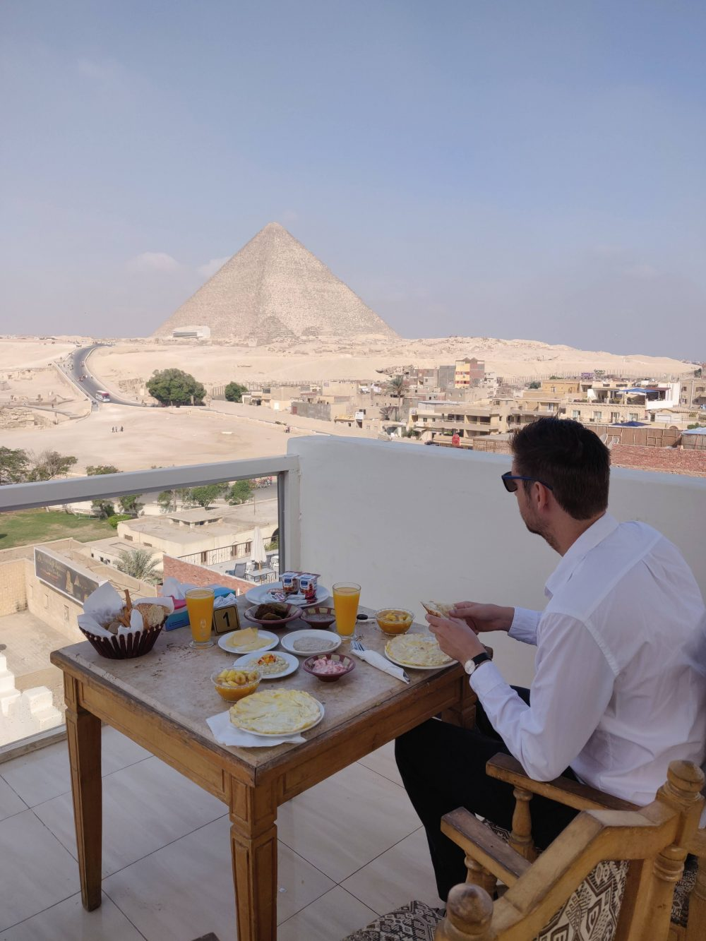 Where to stay in Egypt - Here was our breakfast table in Giza, Cairo.