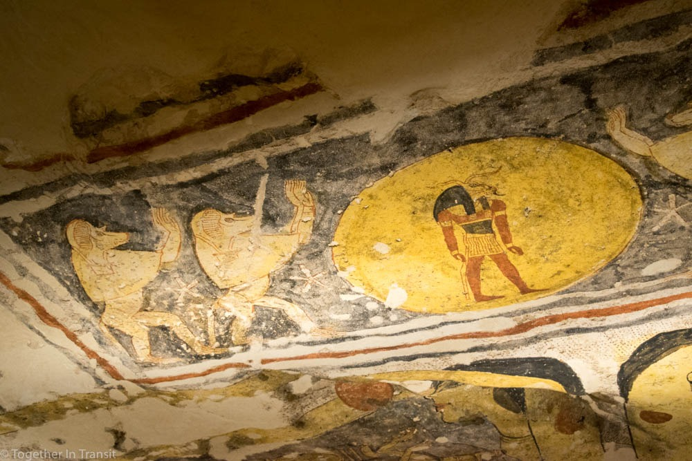 Valley Of The Kings - Ramesses IX KV6 the 9th inside the tomb in 2018 showing the unfinished paintings