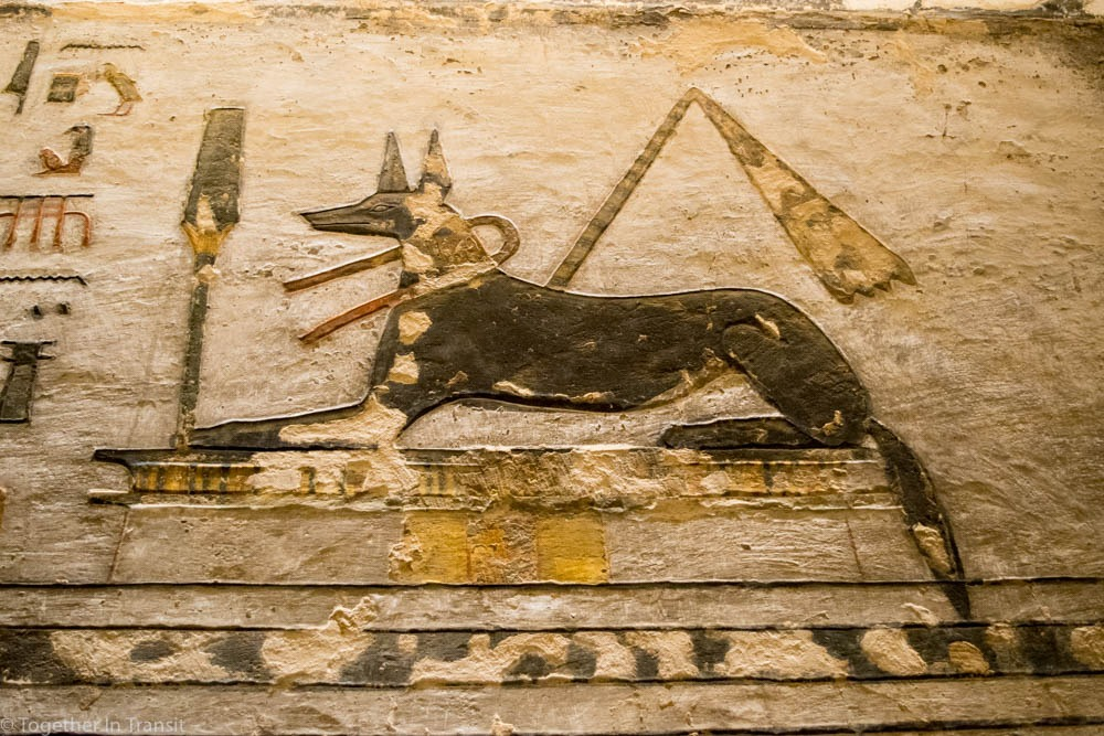 Valley Of The Kings - Ramesses IX KV6 the 9th inside the tomb in 2018 showing Anubis