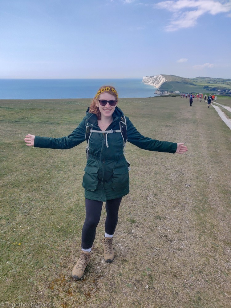 Me posing with the white cliffs in the background during Walk The Wight