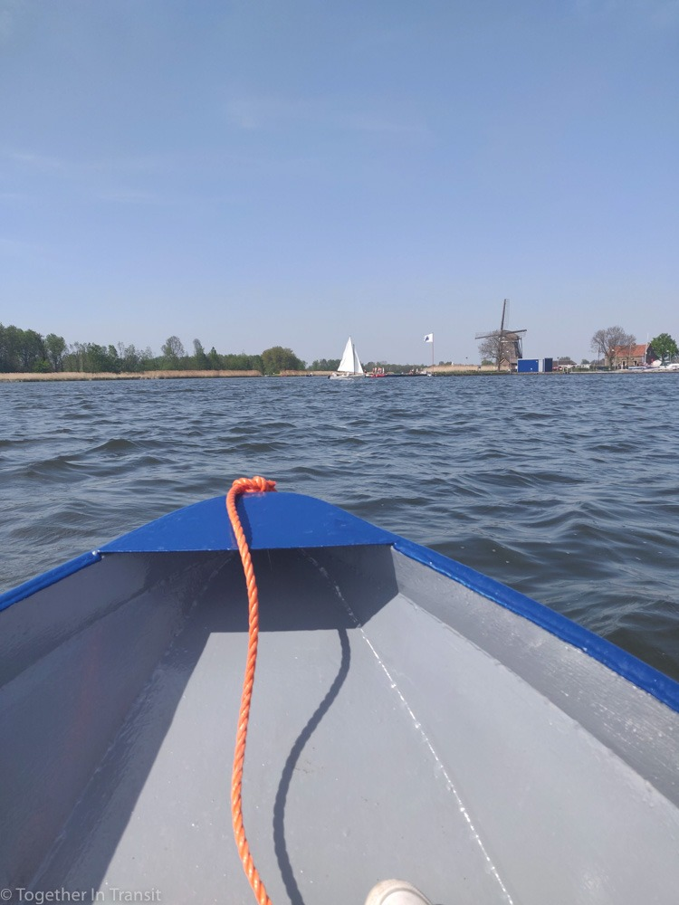 Sailing on the Rotte River in a blue boat