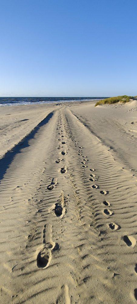 Footprints in the sand at Maasvlakte beach