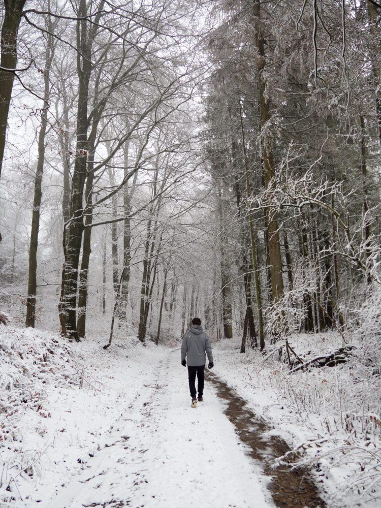 Boyfriend walking down a snowy forest path