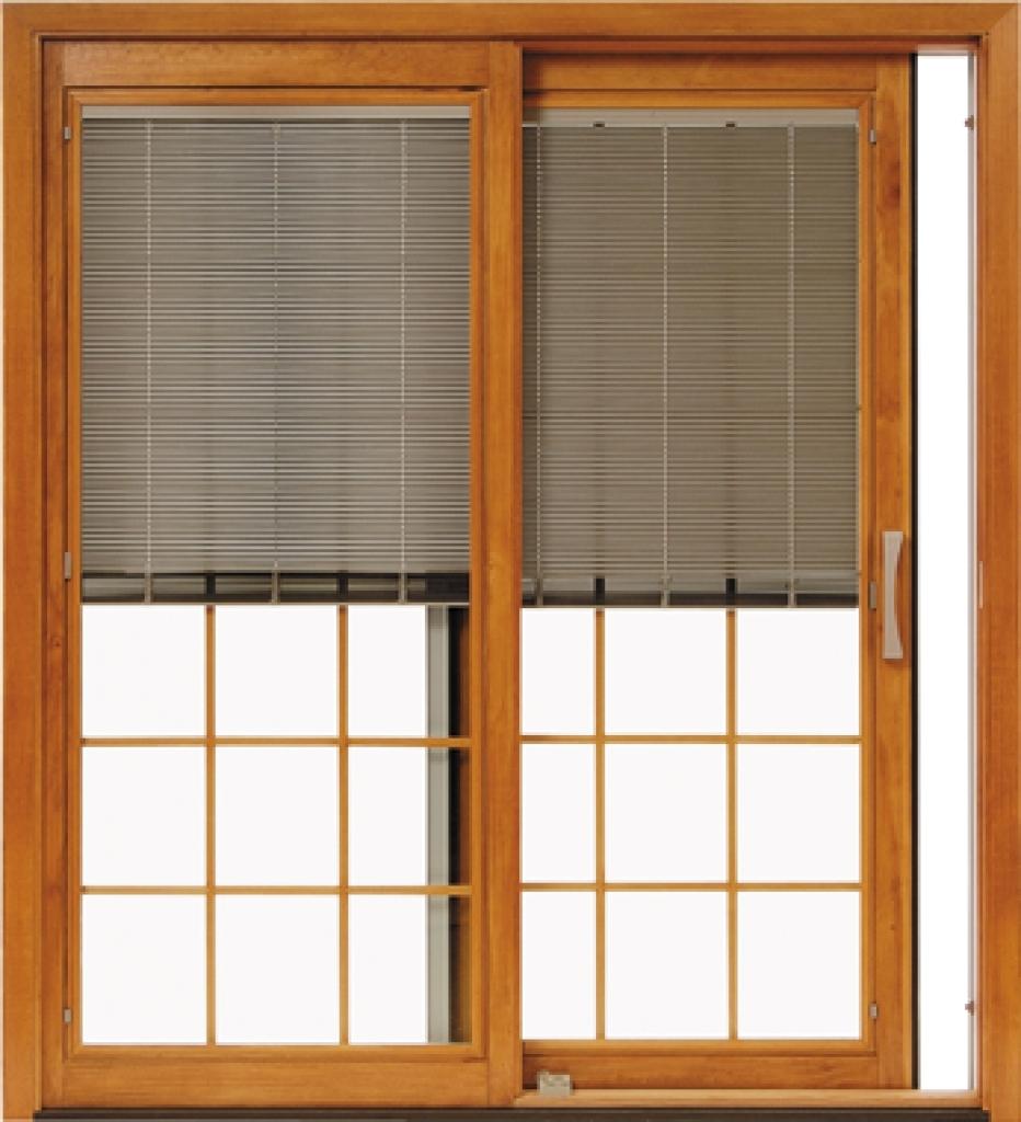 pella sliding door with blinds inside
