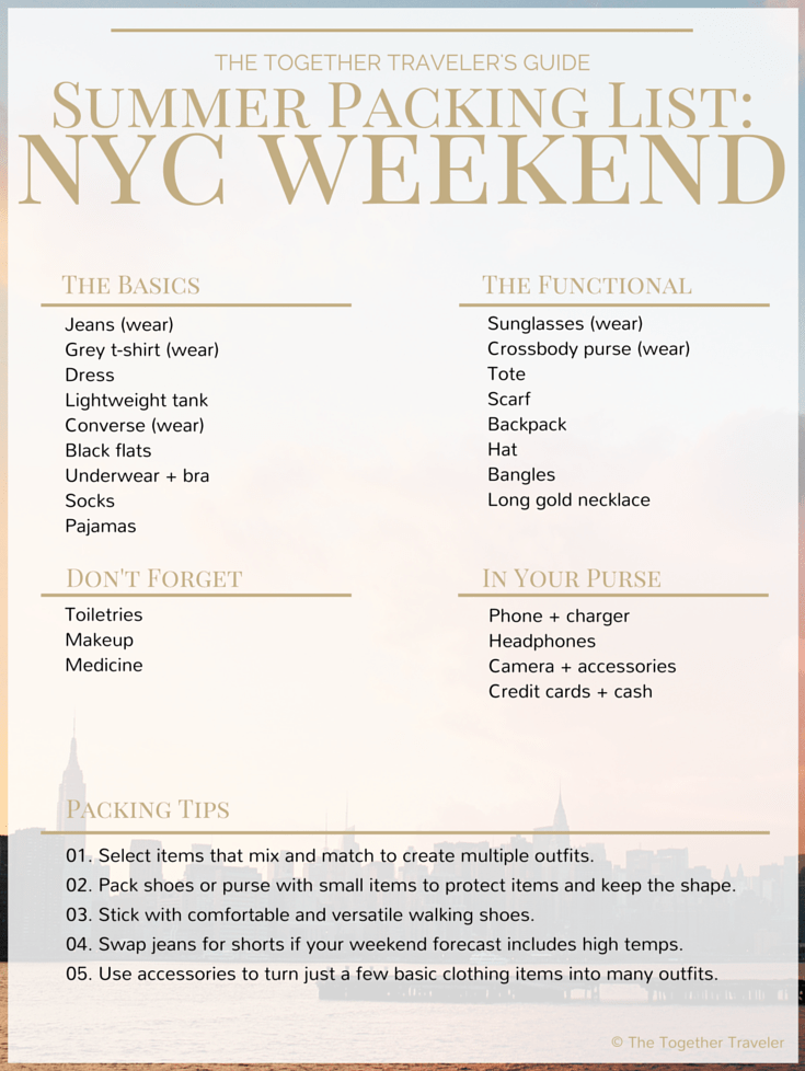 Itinerary and packing list for summer weekend in nyc for Things to do in nyc next weekend